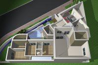 projeto 170 metros casa térrea mezanino terreno canto triangular condomínio roland limeira arquitetura moderna