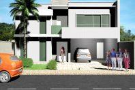 projeto 170 metros planta térrea mezanino fachada moderna telhado embutido condomínio arquiteto paulínia telhado embutido