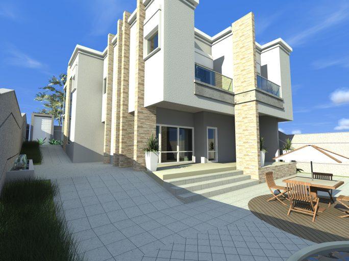 projeto 240 metros terreno declive campinas barão geraldo arquitetas design arquitetura moderna fachada reta vidro piscina fundo desnivel