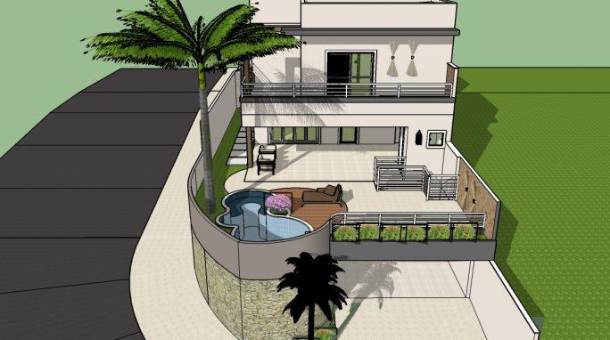 projeto arquitetura planta casa sobrado 03 andares garagem subsolo terreno aclive esquina 10x25 condominio limeira