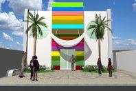 projeto buffet infantil salão festas fachada cenográfica alegre arquiteto caio