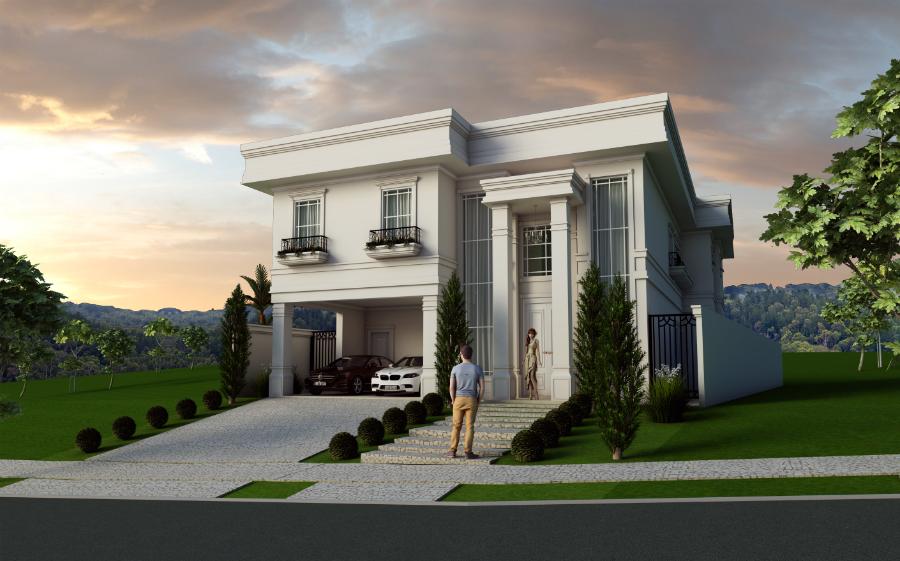 Projeto planta casa fachada cl ssica sobrado arquitetos em for Casa classica moderna