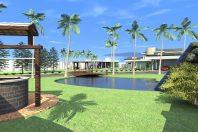 Projeto Casa Curvas Varandas Lazer com Piscina Orgânica e Lago Artificial