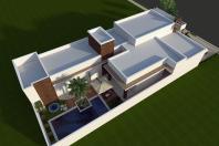 projeto casa moderna fachada reta terreno 12×25 03 suites condomínio campinas swiss park arquiteto caio