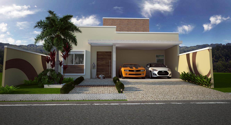 Projeto casa t rrea fachada moderna reta telhado embutido for Casa moderna 80m2