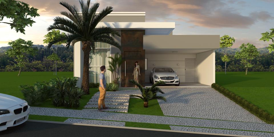 projeto casa térrea fachada moderna pergolado reto arquiteto condomínio real park sumaré