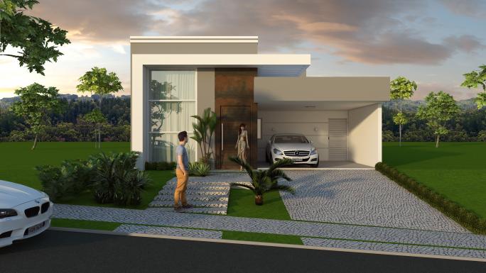 projeto casa térrea fachada moderna pergolado reto arquiteto condomínio real park sumaré pedrinha portuguesa