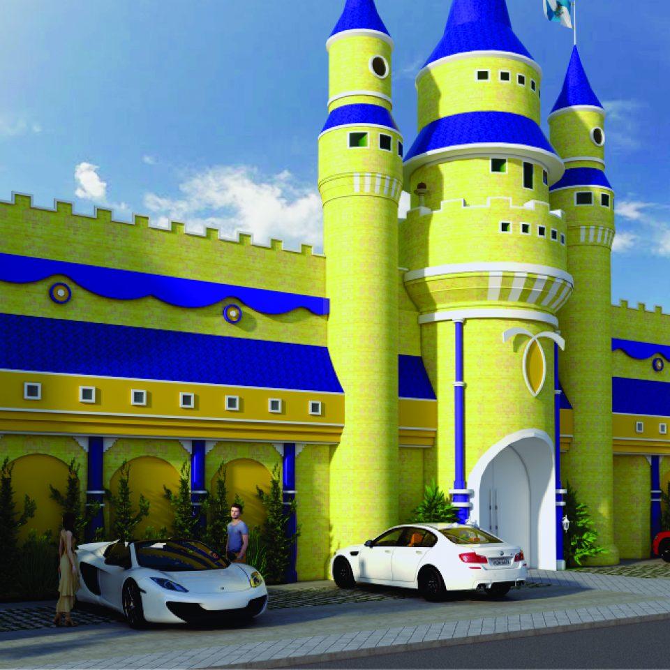 projeto buffet infantil fachada castelo sp Interlagos salão de festas
