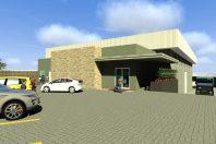 projeto comercial corporativo deposito centro distribuição industrial alimentos estrutura metálica arquitetura moderna terreno declive