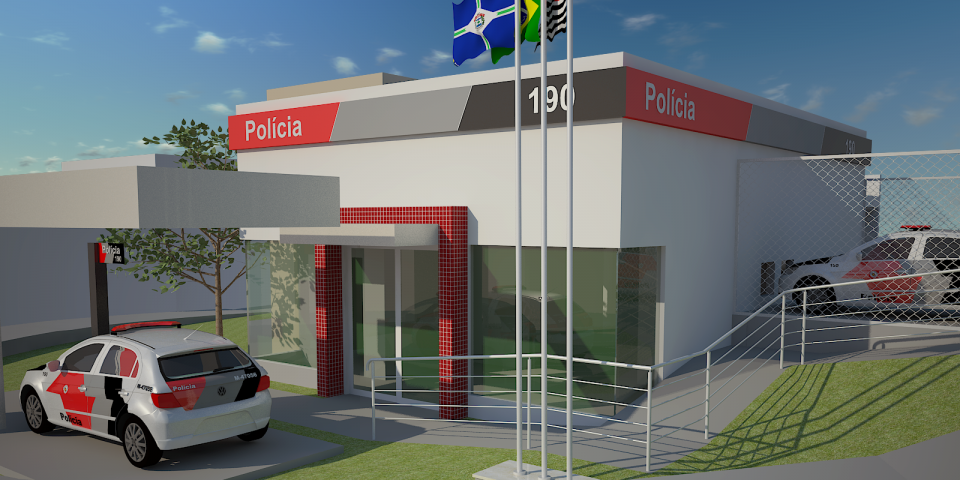 projeto corporativo base policia  militar limeira avenida costa silva arquiteto limeira fachada arquitetura moderna
