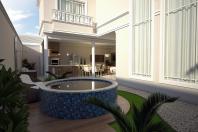 projeto planta casa clássica interior integrado condominio valinhos mont alcino 12×30 sobrado 300m2 fachada estilo europeu área de lazer gourmet