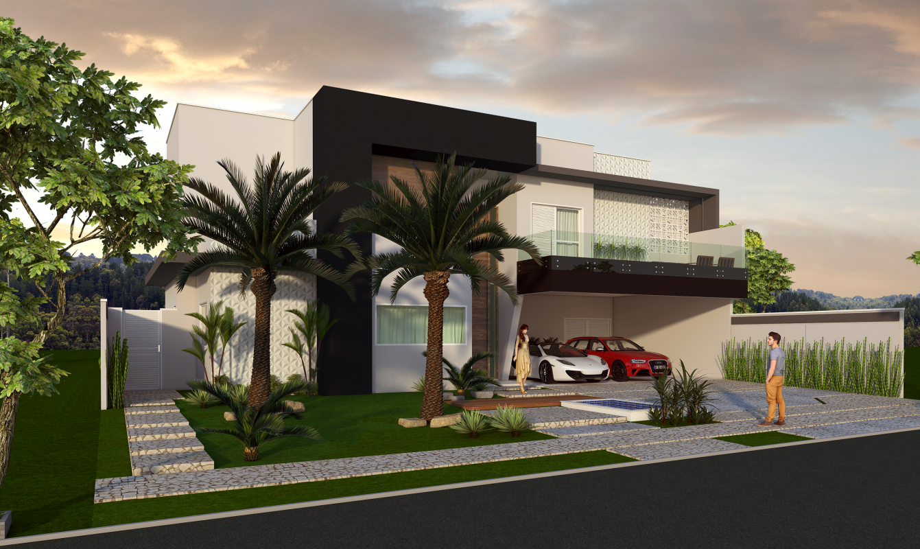 Projeto planta casa sobrado fachada moderna terreno plano for Casa moderna 10 x 20