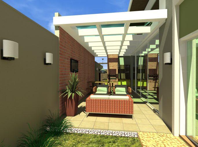 Lazer projeto casa térrea com mezanino em arquitetura moderna condomínio margarida de holstein em Limeira projeto do Arquiteto Caio Pergolado teto vidro