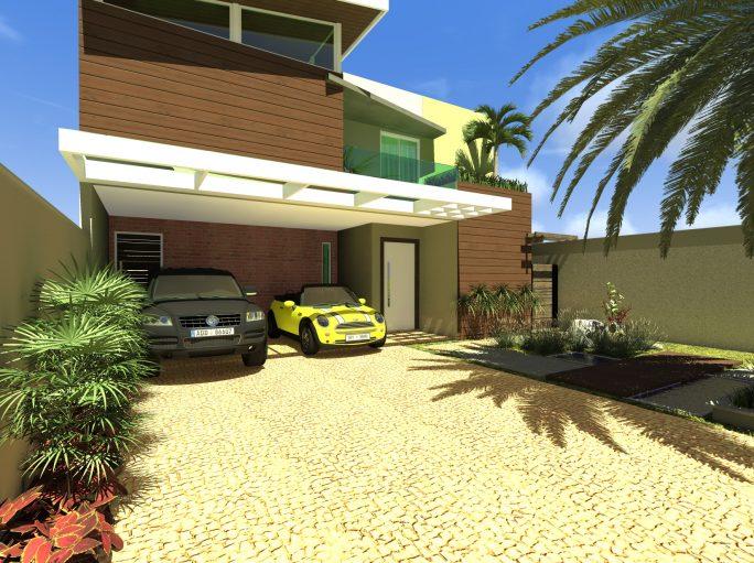 Fachada planta projeto casa térrea com mezanino em arquitetura moderna condomínio margarida de holstein em Limeira projeto do Arquiteto Caio