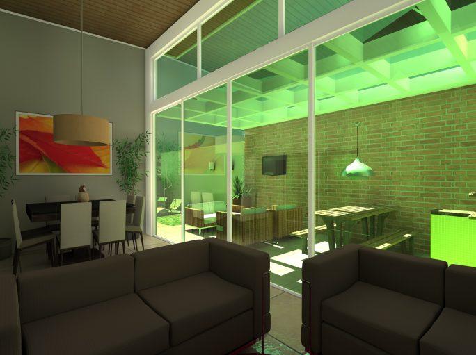 Lazer integrado com sala planta projeto casa térrea com mezanino em arquitetura moderna condomínio margarida de holstein em Limeira projeto do Arquiteto Caio pergolado com teto de vidro