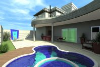 Projeto Casa Sobrado Moderna Fachada Quadrada Terreno 12×30 Arquiteto Limeira Terras de Santa Elisa