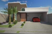 casa moderna contemporânea fachada reta marrom janela redonda pedrinha portuguesa telhado embutido condomínio terreno plano 12×25