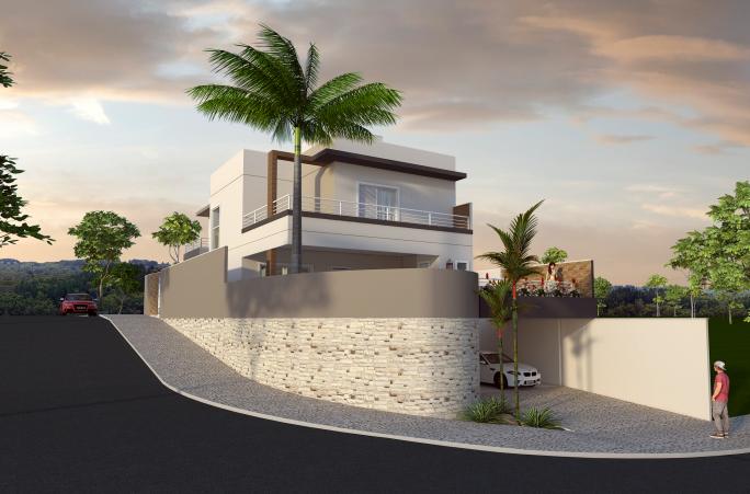 casa moderna sobrado 240m2 terreno desnível aclive 10x25 condomínio alto padrão projeto esquina arquiteto limeira