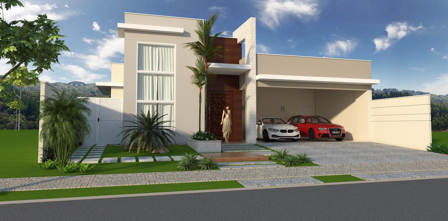 Casa 240m2 alto padrao formato l terrea fachada moderna for Salas para casas chiquitas
