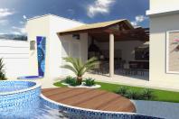 casa 240m2 alto padrao formato l terrea fachada moderna reta quadrada telhado escondido embutido vidro grande projeto arquiteto louveira lazer gourmet madeira