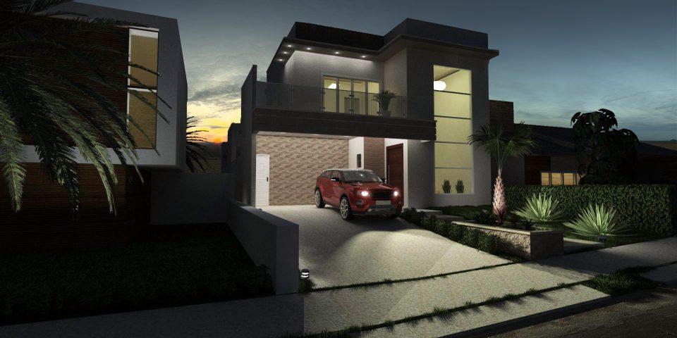 planta projeto casa 200m2 térrea mezanino fachada moderna quadrada telhado escondido terreno 10×25 pe direito alto condomínio terras são bento