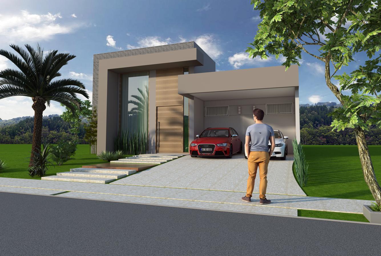 Projeto 140m2 casa t rrea fachada moderna linhas retas for Fachadas de casas modernas de 6 metros