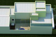 projeto 150 metros casa formato u condominio fechado fachada moderna terreno declive lateral 10×25 roland limeira sp arquiteta residencial spa piscina pequena