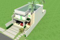 projeto 170m2 sobrado fachada moderna reta telhado embutido condomínio roland limeira sp terreno 10×25 arquiteta limeira vidro grande fundo com vista lazer