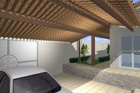 projeto 180 metros casa formato u terreno 12×30 declive lateral telhado cerâmica lazer piscina