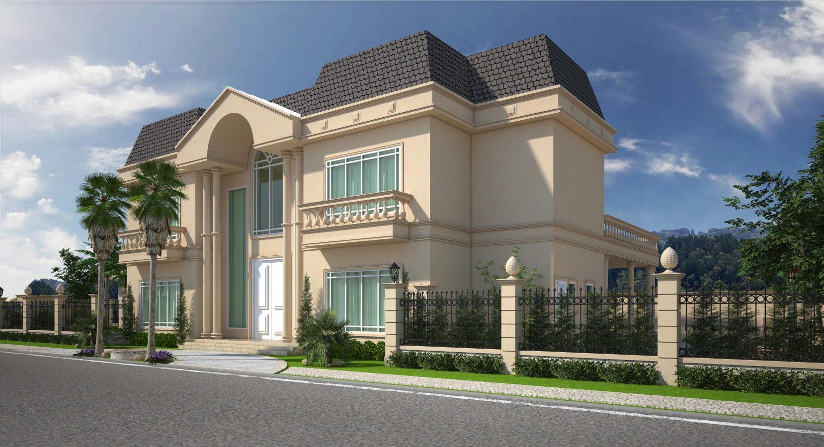 Projeto casa 600m2 esquina arquitetura cl ssica estilo Casa clasica moderna