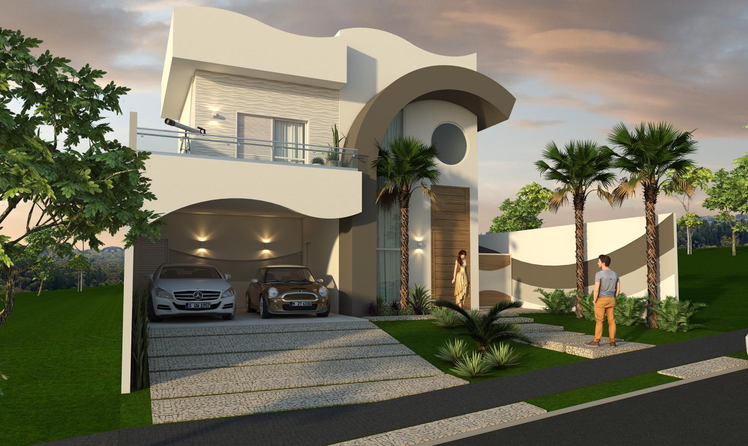 Projeto casa alto padr o 200m2 t rrea mezanino fachada for Casas modernas redondas