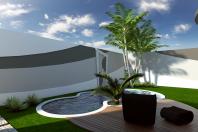 projeto casa alto padrão 200m2 térrea mezanino fachada moderna curvas arquitetura redonda recuo fundo condomínio swiss park campinas