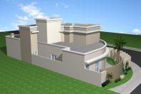 projeto 200 m2 casa esquina 10×25 terrea mezanino pe direito duplo muro com vidro condomínio roland limeira sp