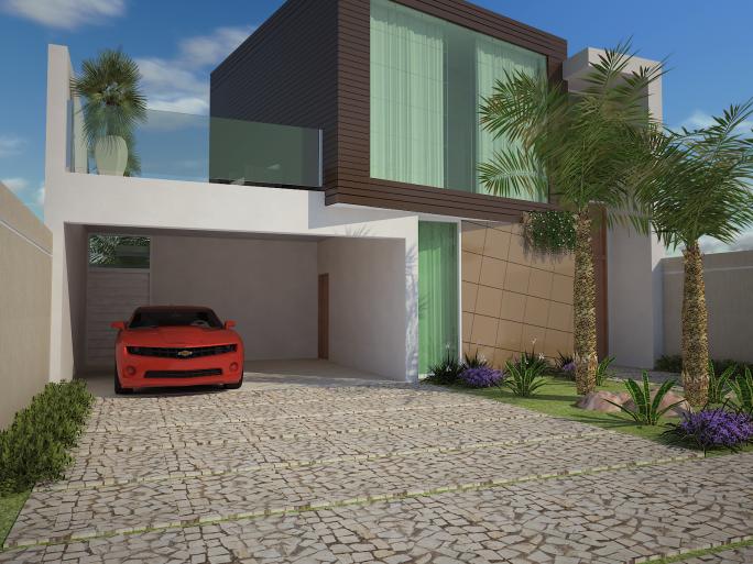 projeto casa moderna térrea mezanino volume fachada quadrado formato u condomínio margarida holstein limeira arquiteto madeirado pe direito alto