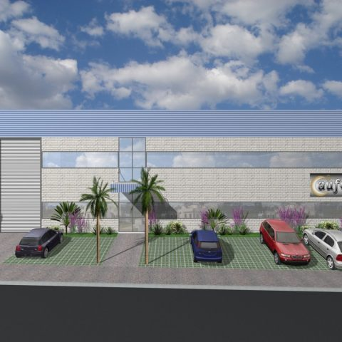 projeto corporativo fabrica joias limeira 1000 metros terreno cil distrito industrial 20×50 arquiteto caio decorador fachada moderna fechamento metálico telha