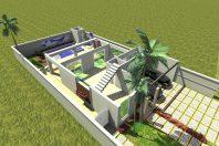 projeto desenho casa sobrado neoclássico terreno 11×30 contrução 250 metros fachada frente moldura condomínio terras sao bento limeira