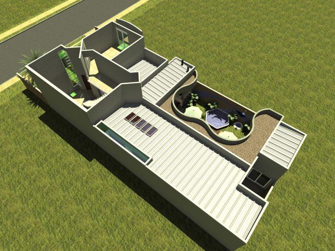 projeto planta 210 metros arquitetura contemporânea fachada moderna frente quadrada terreno 12x25 condomínio margarida arquiteto limeira lazer curvas pe direito duplo sala escada em curva