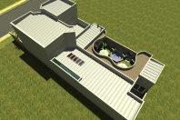 projeto planta 210 metros arquitetura contemporânea fachada moderna frente quadrada terreno 12×25 condomínio margarida arquiteto limeira lazer curvas pe direito duplo sala escada em curva