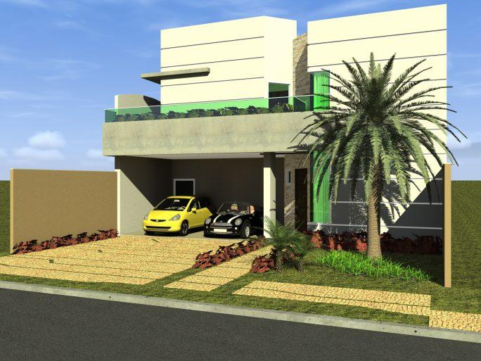 projeto planta 210 metros arquitetura contemporânea fachada moderna frente quadrada terreno 12x25 condomínio margarida arquiteto limeira