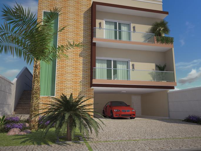 projeto planta casa 250m2 3 suítes terreno 10x25 aclive fundo mais alto desnível fachada moderna