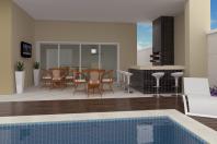 projeto planta casa 250m2 3 suítes terreno 10×25 aclive fundo mais alto desnível fachada moderna