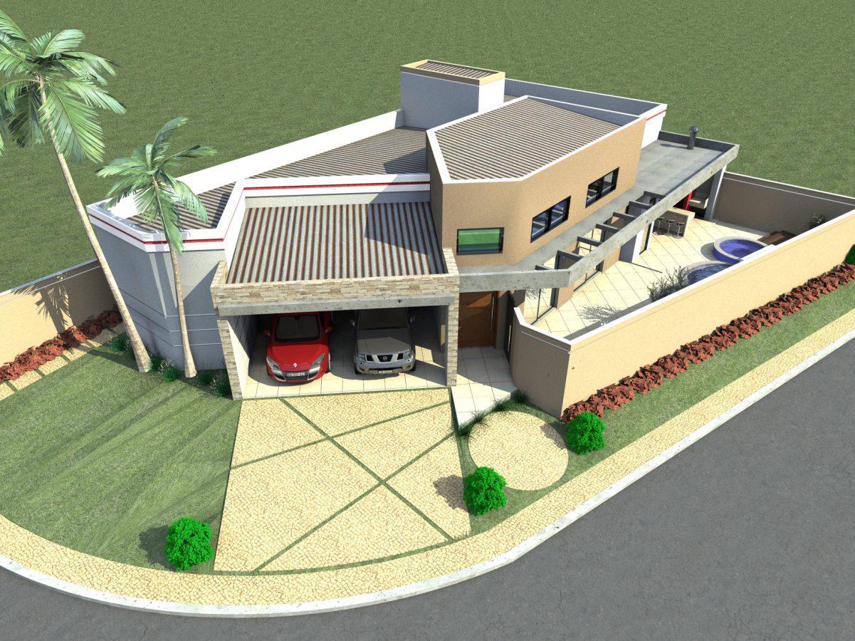 Projeto planta casa t rrea 160 metros terreno esquina for Casa moderna 140 m2
