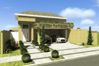 projeto planta casa térrea 160m2 terreno plano condomínio 10×25 fachada clássica telhado shingle arquiteto valinhos centervile formato L