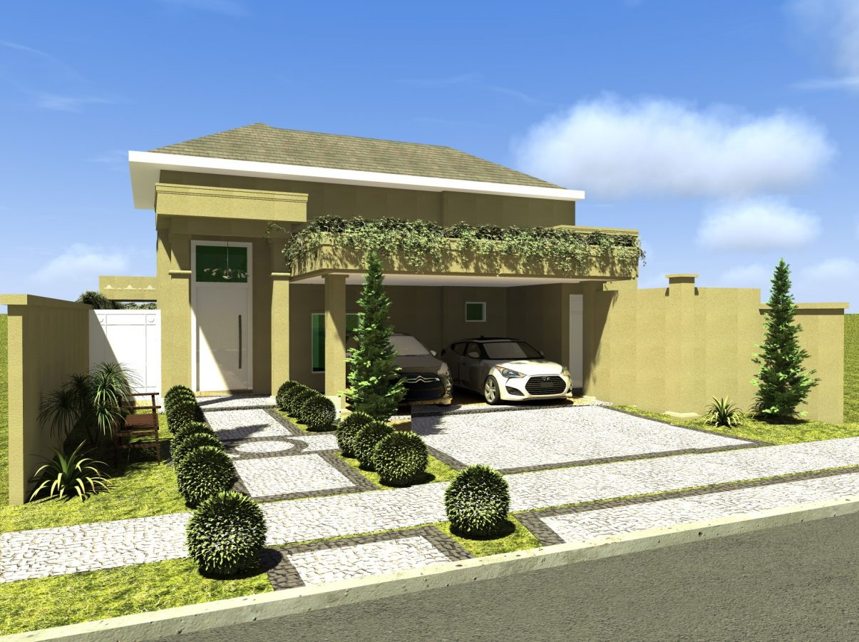 Projeto planta casa t rrea 160m2 terreno plano condom nio for Fachada casa 2 plantas