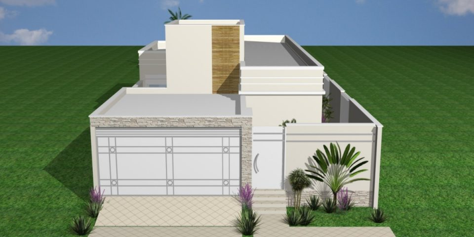 projeto reforma casa térrea terreno 10 frente por 25 10×25 construção 03 suites 180m2 lazer gourmet fachada moderna arquiteto Cordeirópolis