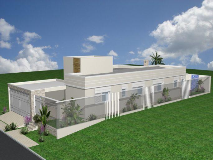 projeto reforma casa térrea terreno 10 frente por 25 10x25 construção 03 suites 180m2 lazer gourmet fachada moderna arquiteto Cordeirópolis