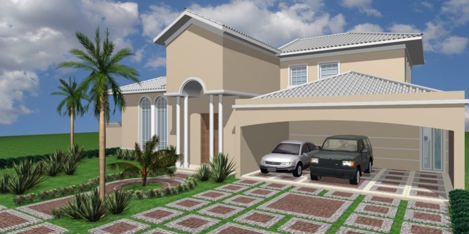 projetos casa térrea alto padrão 300m2 condomínio fechado ilha di bali arquiteto limeira arquitetura clássica telhado aparente varanda arcos