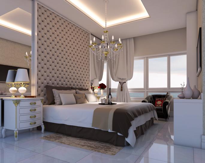 projeto decoração design interiores estilo classico padrao americano em apartamento no Guarujá praia pitangueiras quarto casal suite master alto padrão luxo
