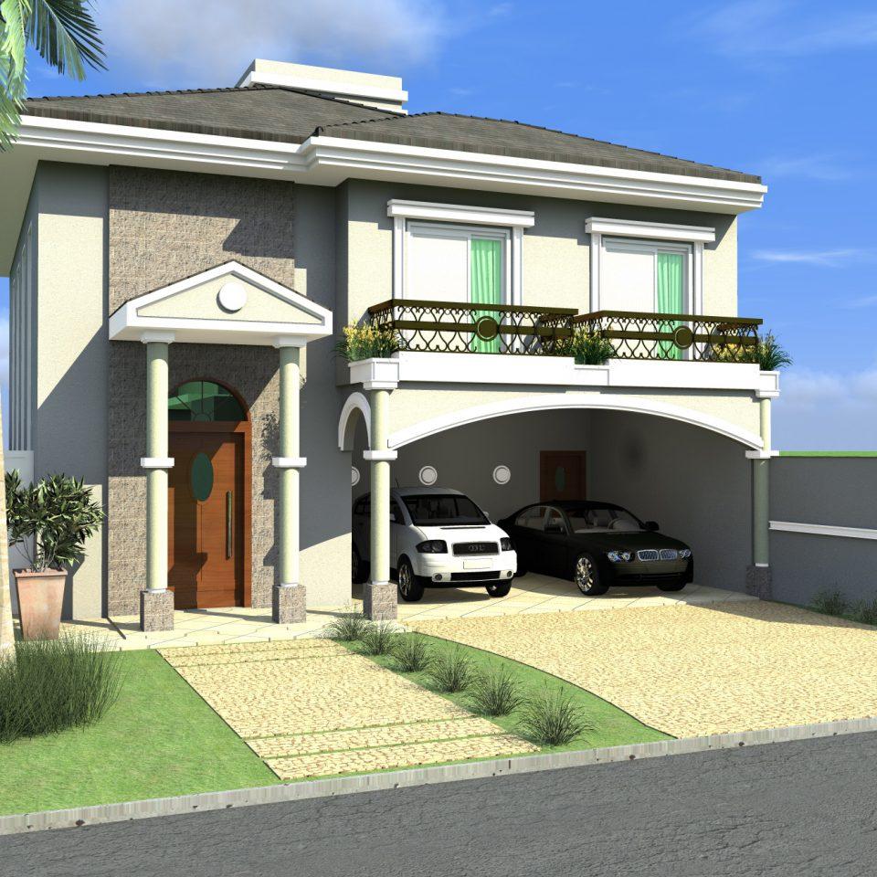 casa sobrado arquitetura clássica neoclássica telhado aparente terreno 12×25 240 metros construção condomínio Piracicaba