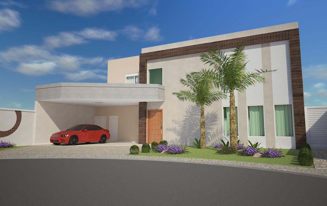 Projeto 240 metros planta casa sobrado alto padr o for Fachada casa 2 plantas